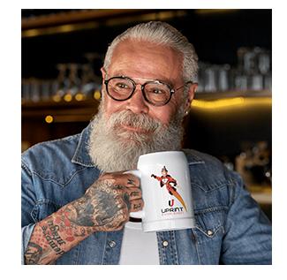 Beared man with branded mug