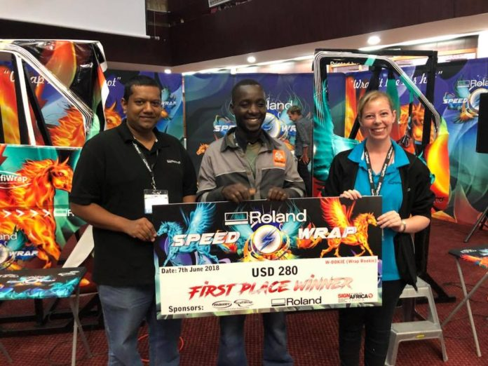 Speed Wrap winner crowned at Sign Africa Zambia Expo.
