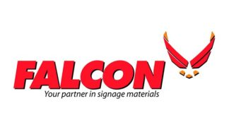 Falcon showcasing NUtec Digital Inks Emerald products.
