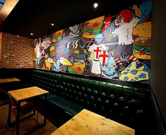 Metamark Wall Covering Used In Burger Restaurant Project